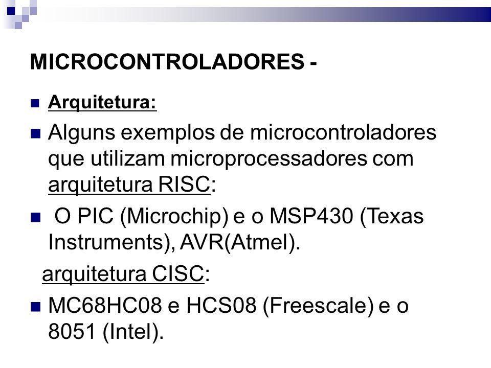 O PIC (Microchip) e o MSP430 (Texas Instruments), AVR(Atmel).