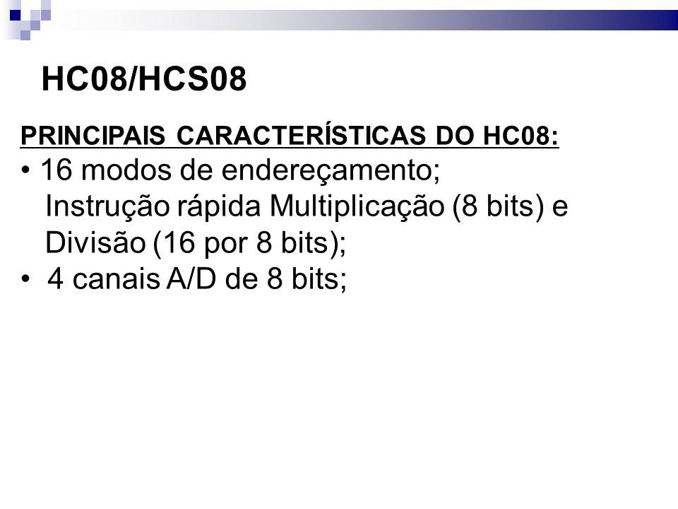 HC08/HCS08 16 modos de endereçamento;