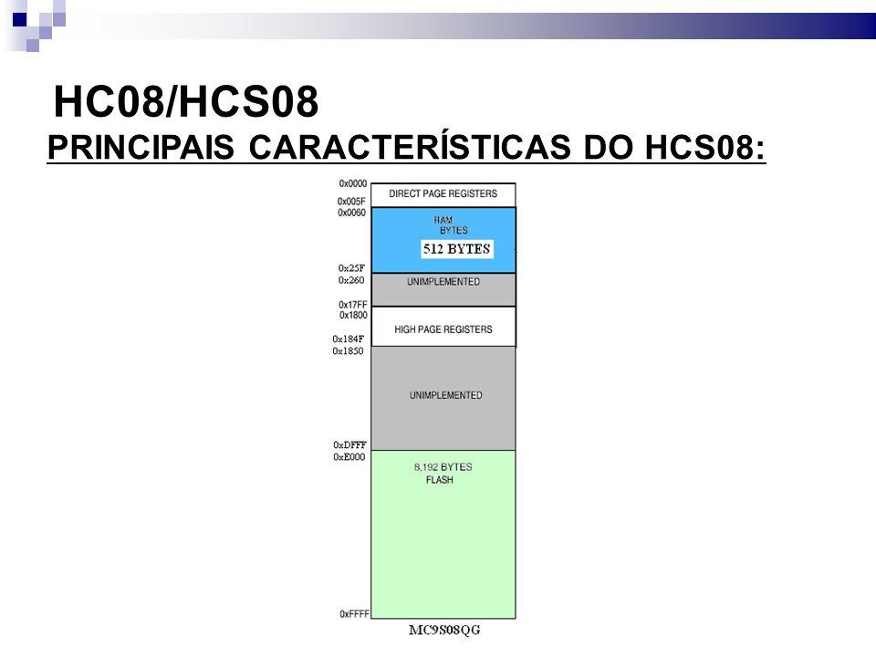 HC08/HCS08 PRINCIPAIS CARACTERÍSTICAS DO HCS08: