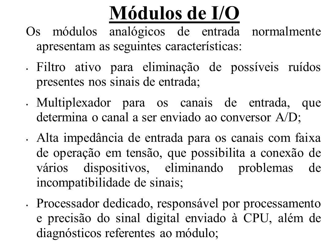 Módulos de I/O Os módulos analógicos de entrada normalmente apresentam as seguintes características:
