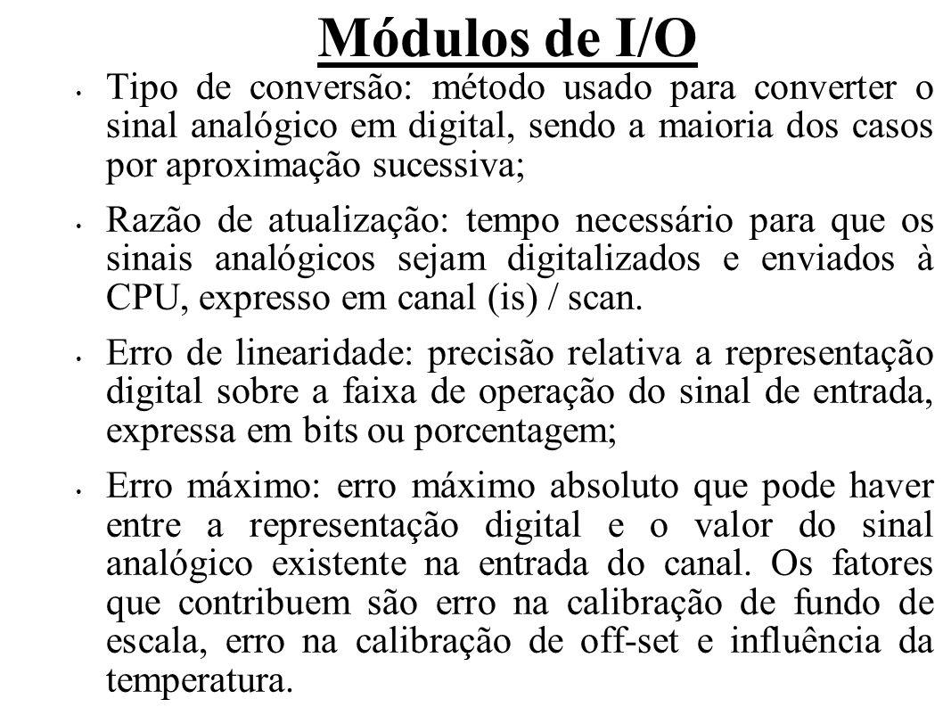 Módulos de I/O Tipo de conversão: método usado para converter o sinal analógico em digital, sendo a maioria dos casos por aproximação sucessiva;
