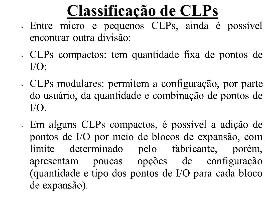 Classificação de CLPs Entre micro e pequenos CLPs, ainda é possível encontrar outra divisão: CLPs compactos: tem quantidade fixa de pontos de I/O;