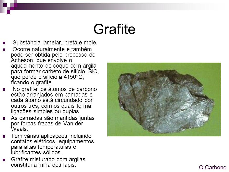 Grafite Substância lamelar, preta e mole.