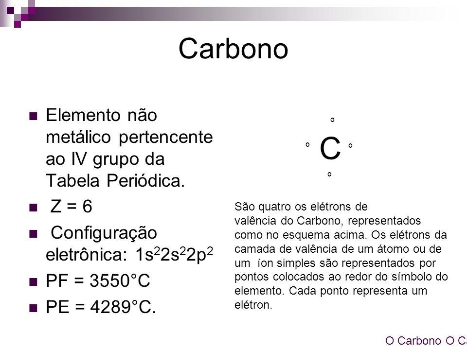 Carbono C. Elemento não metálico pertencente ao IV grupo da Tabela Periódica. Z = 6. Configuração eletrônica: 1s22s22p2.