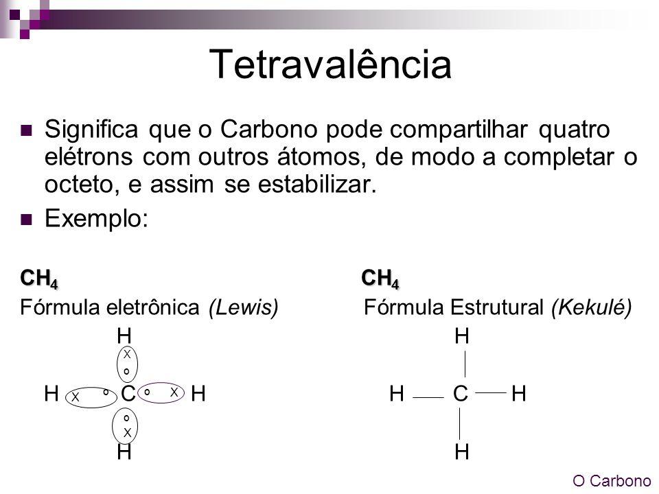 Tetravalência Significa que o Carbono pode compartilhar quatro elétrons com outros átomos, de modo a completar o octeto, e assim se estabilizar.