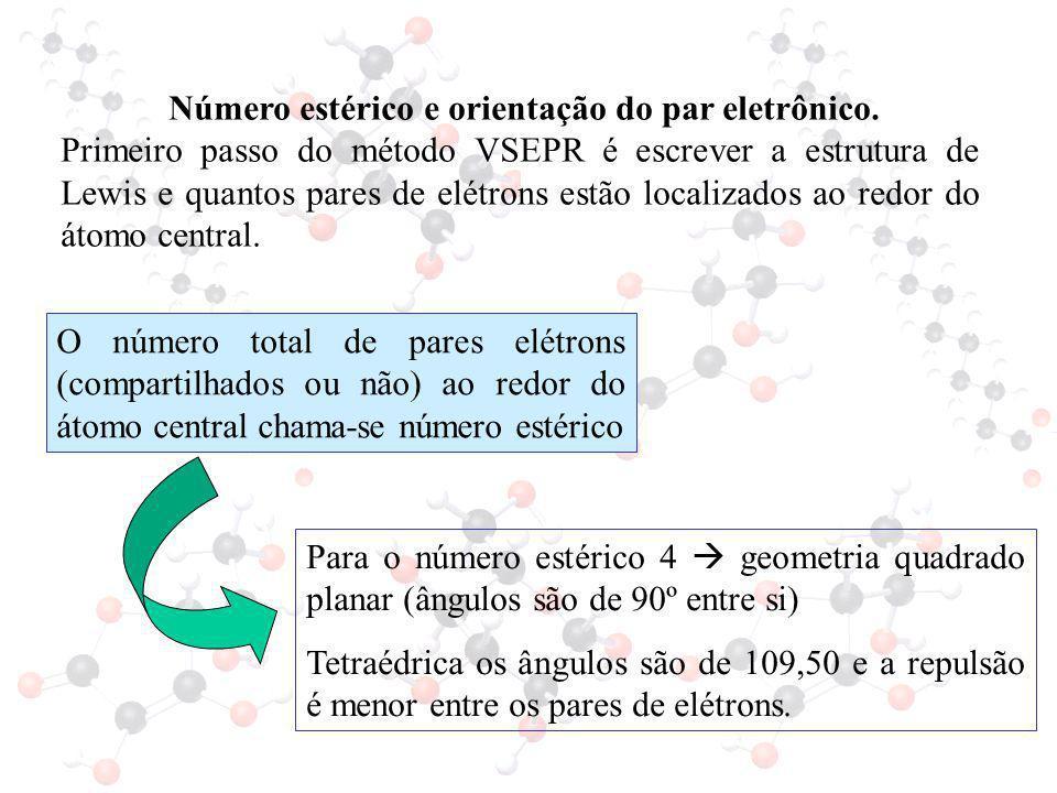 Número estérico e orientação do par eletrônico.
