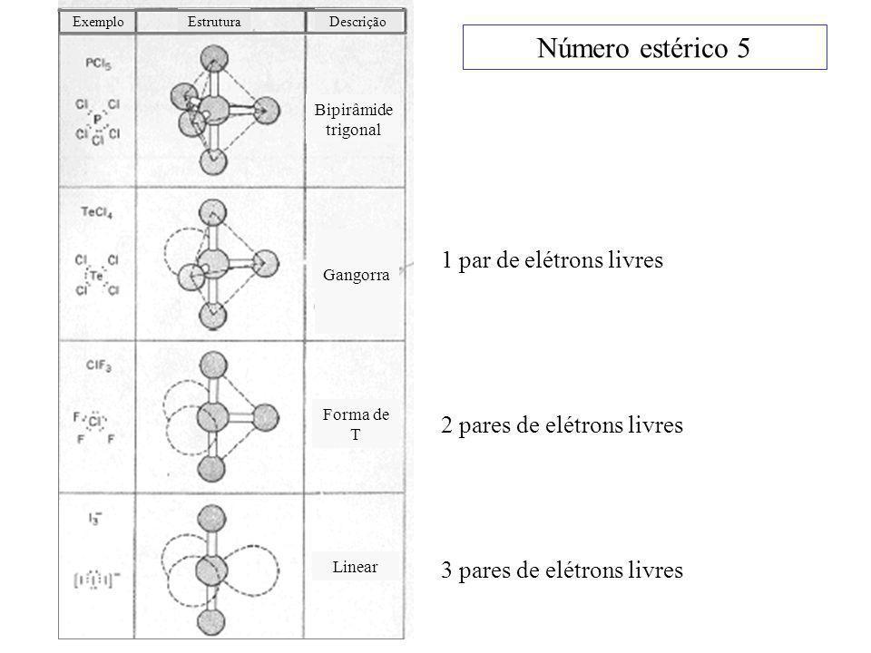 Número estérico 5 1 par de elétrons livres 2 pares de elétrons livres