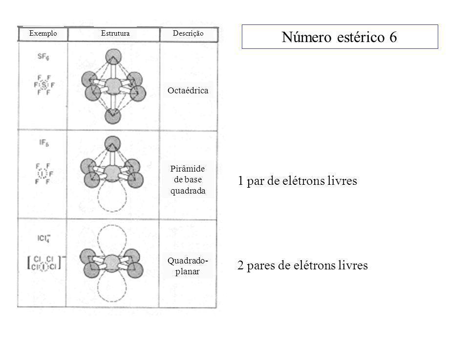 Número estérico 6 1 par de elétrons livres 2 pares de elétrons livres