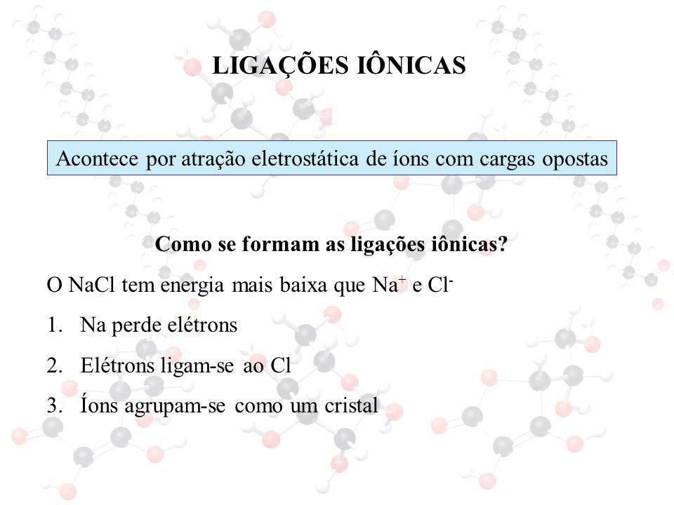 LIGAÇÕES IÔNICAS Acontece por atração eletrostática de íons com cargas opostas. Como se formam as ligações iônicas