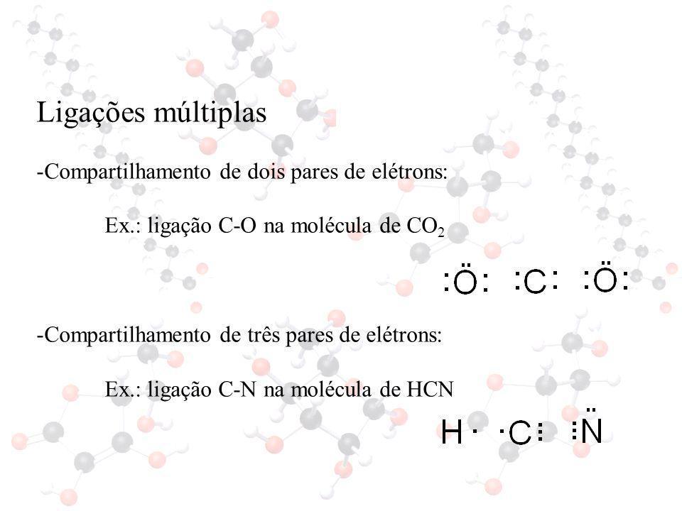 Ligações múltiplas Compartilhamento de dois pares de elétrons: