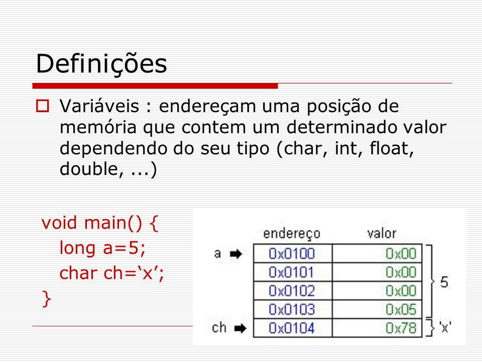 Definições Variáveis : endereçam uma posição de memória que contem um determinado valor dependendo do seu tipo (char, int, float, double, ...)