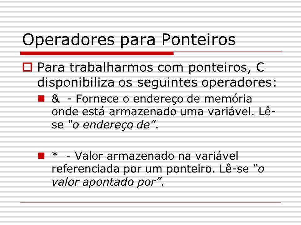 Operadores para Ponteiros