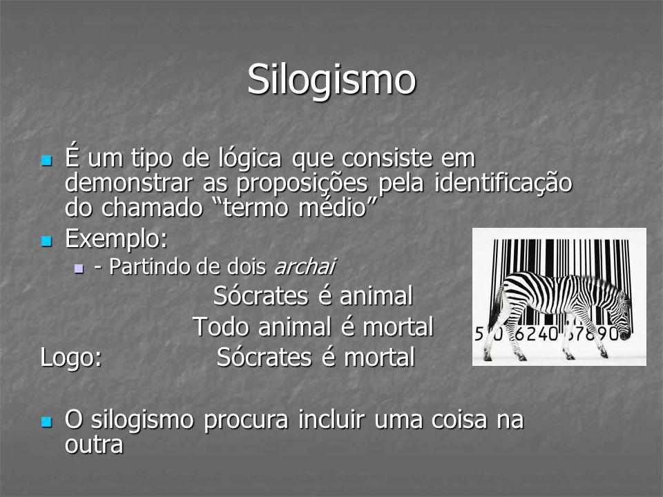 Silogismo É um tipo de lógica que consiste em demonstrar as proposições pela identificação do chamado termo médio