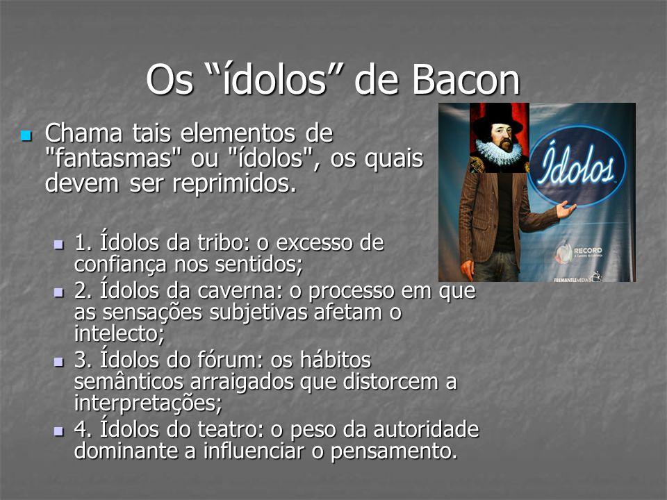 Os ídolos de Bacon Chama tais elementos de fantasmas ou ídolos , os quais devem ser reprimidos.