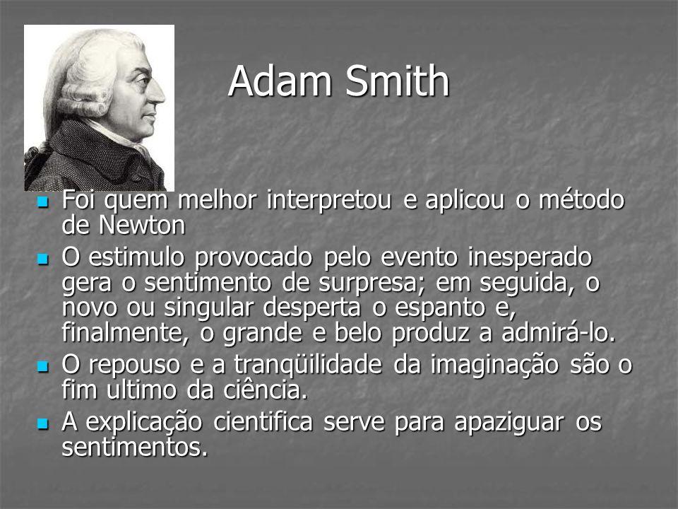 Adam Smith Foi quem melhor interpretou e aplicou o método de Newton