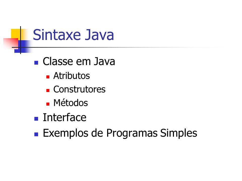 Sintaxe Java Classe em Java Interface Exemplos de Programas Simples