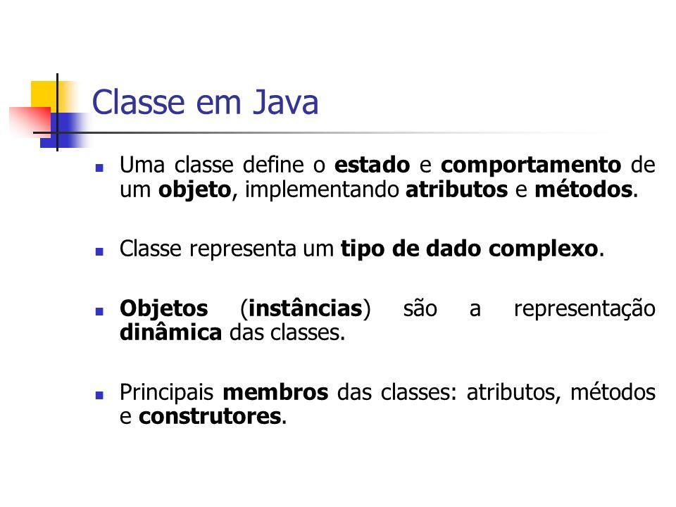 Classe em Java Uma classe define o estado e comportamento de um objeto, implementando atributos e métodos.