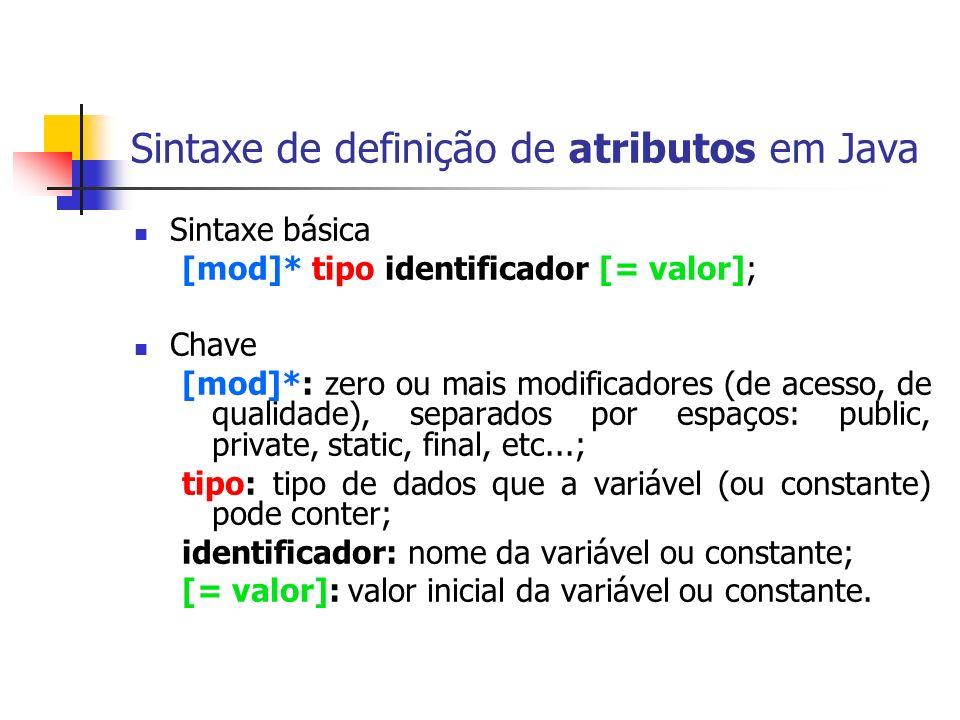 Sintaxe de definição de atributos em Java