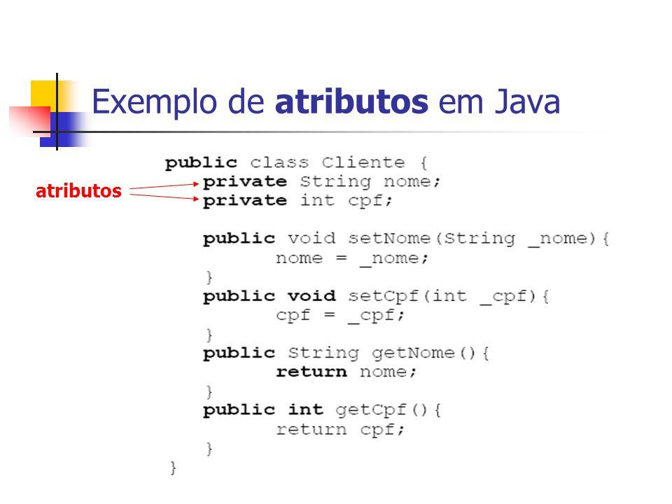 Exemplo de atributos em Java