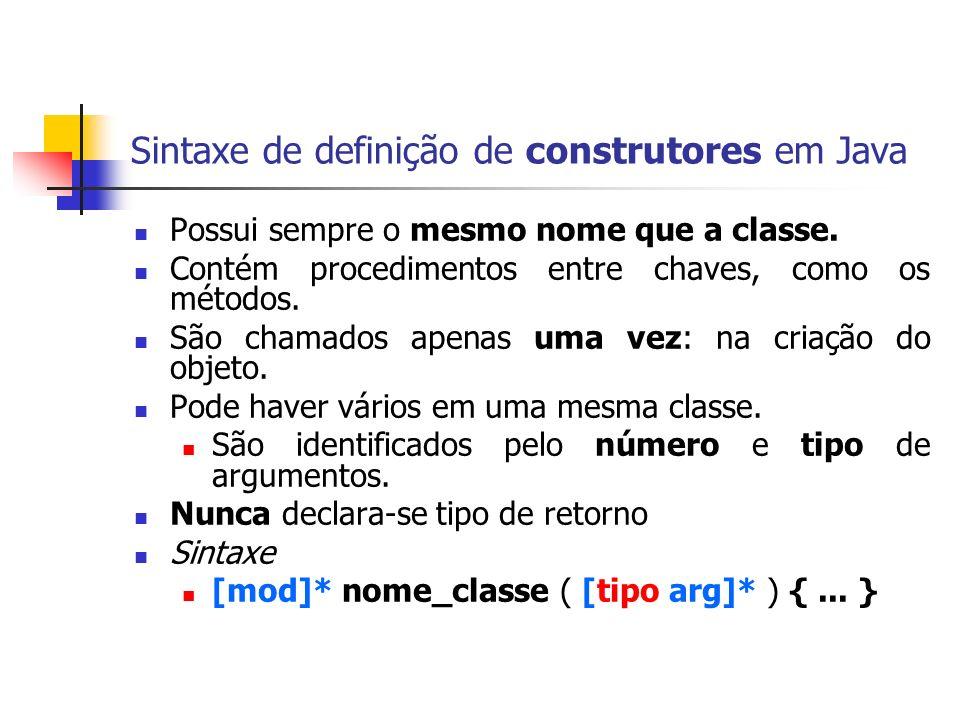 Sintaxe de definição de construtores em Java