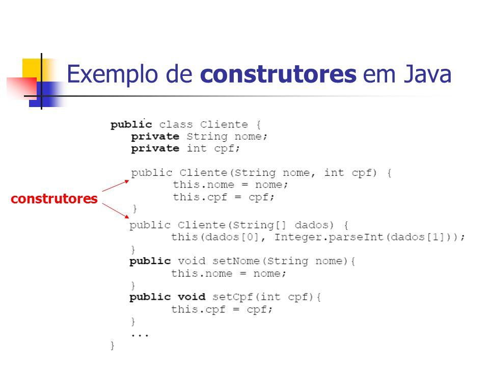 Exemplo de construtores em Java