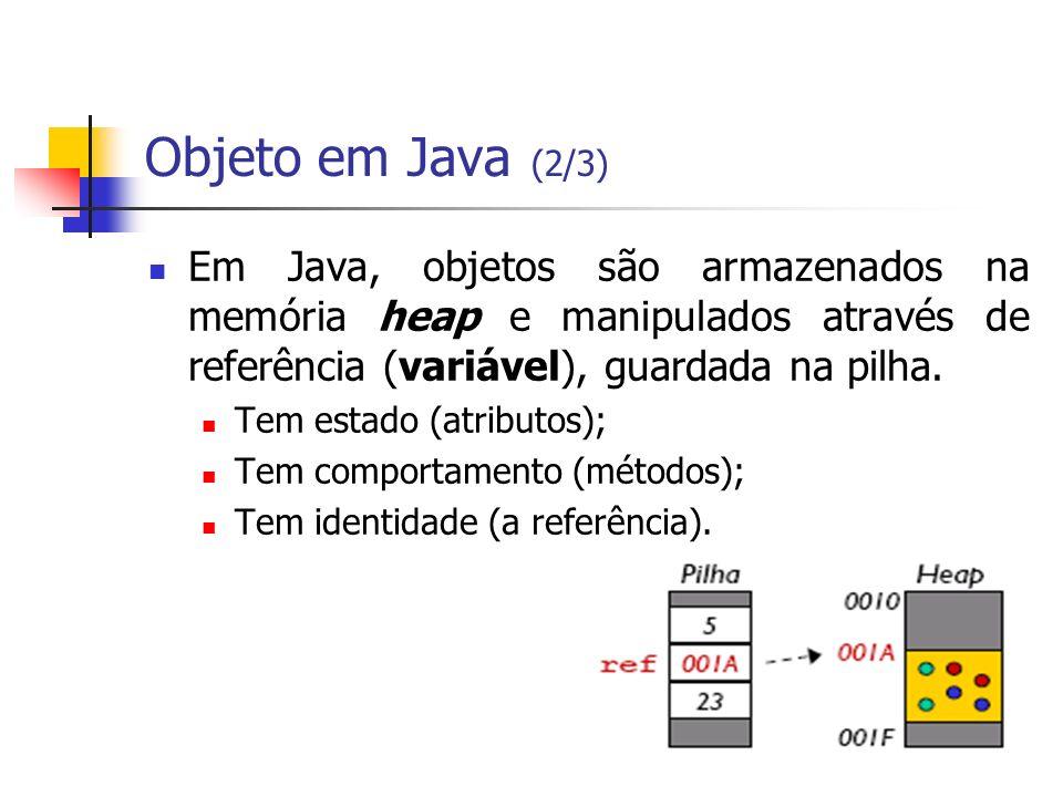 Objeto em Java (2/3) Em Java, objetos são armazenados na memória heap e manipulados através de referência (variável), guardada na pilha.