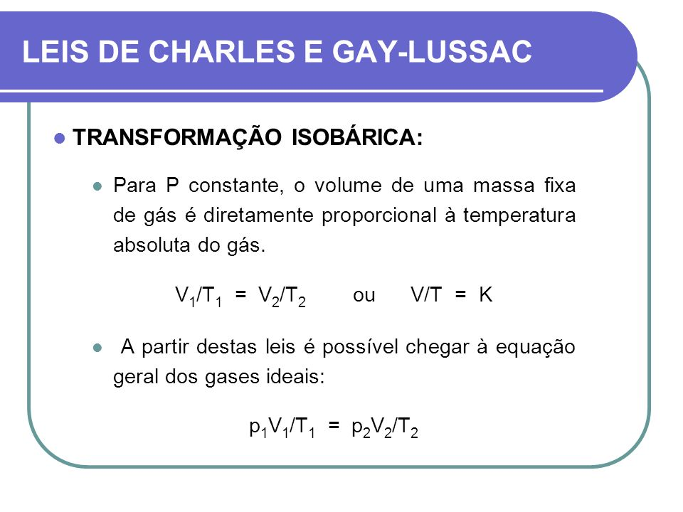LEIS DE CHARLES E GAY-LUSSAC