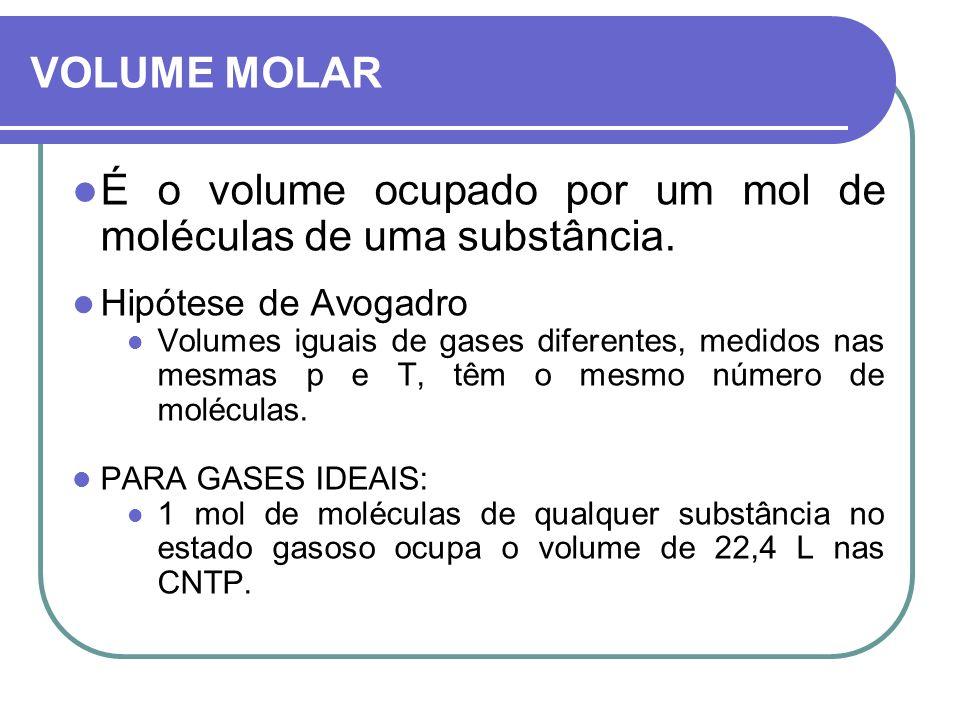 É o volume ocupado por um mol de moléculas de uma substância.