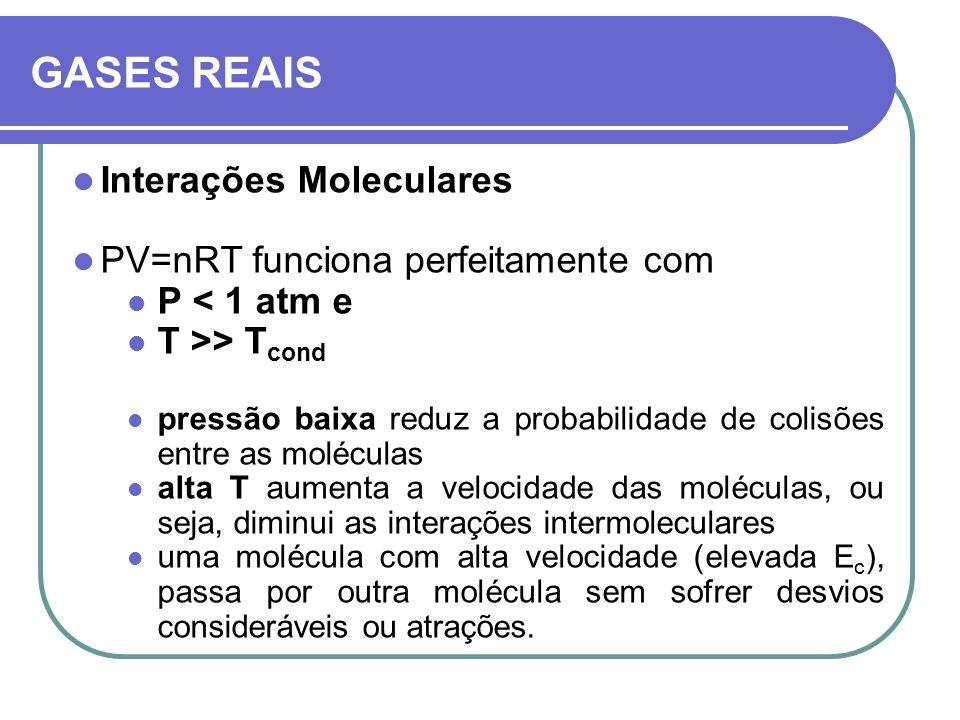 GASES REAIS Interações Moleculares PV=nRT funciona perfeitamente com