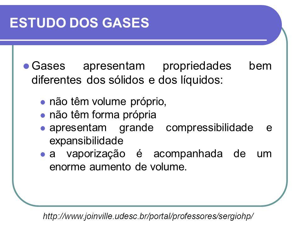 ESTUDO DOS GASES Gases apresentam propriedades bem diferentes dos sólidos e dos líquidos: não têm volume próprio,