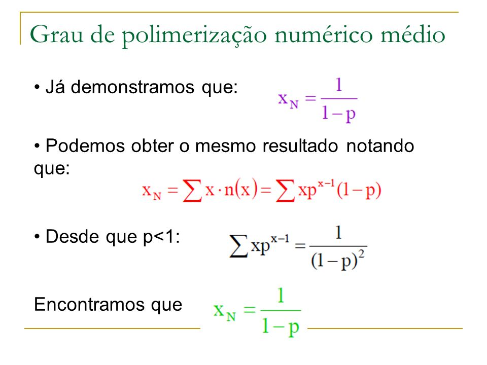 Grau de polimerização numérico médio