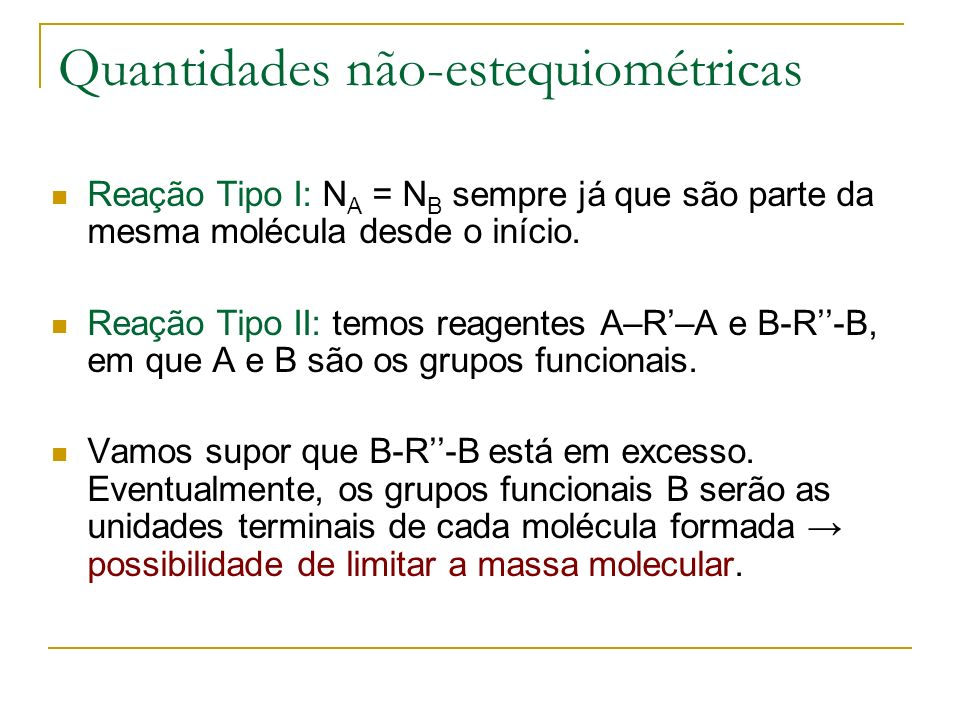 Quantidades não-estequiométricas