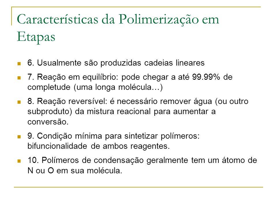 Características da Polimerização em Etapas