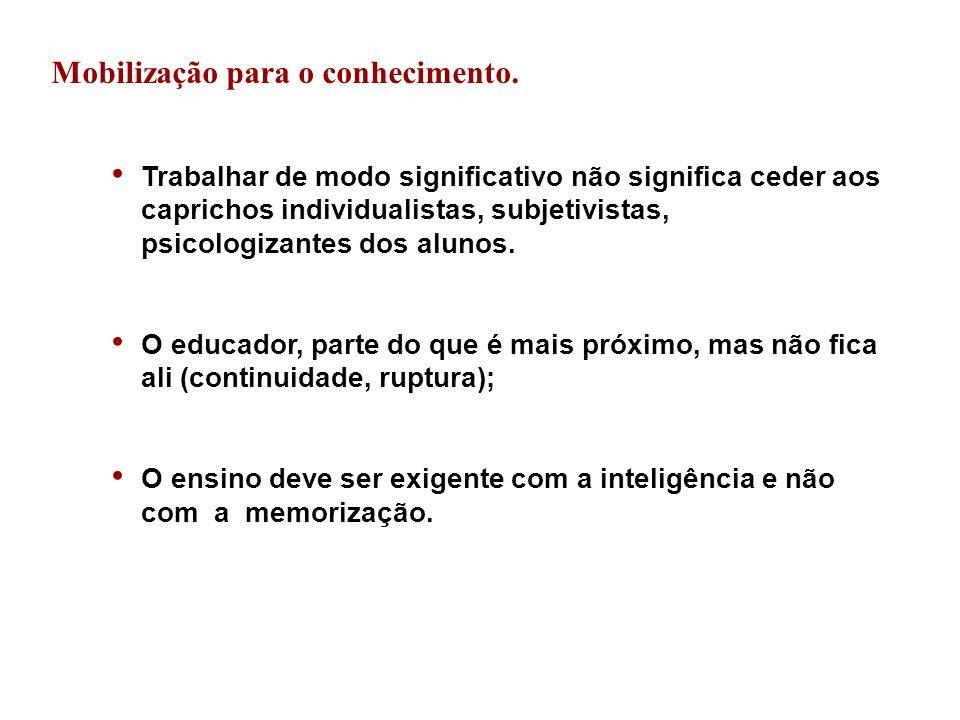 Mobilização para o conhecimento.