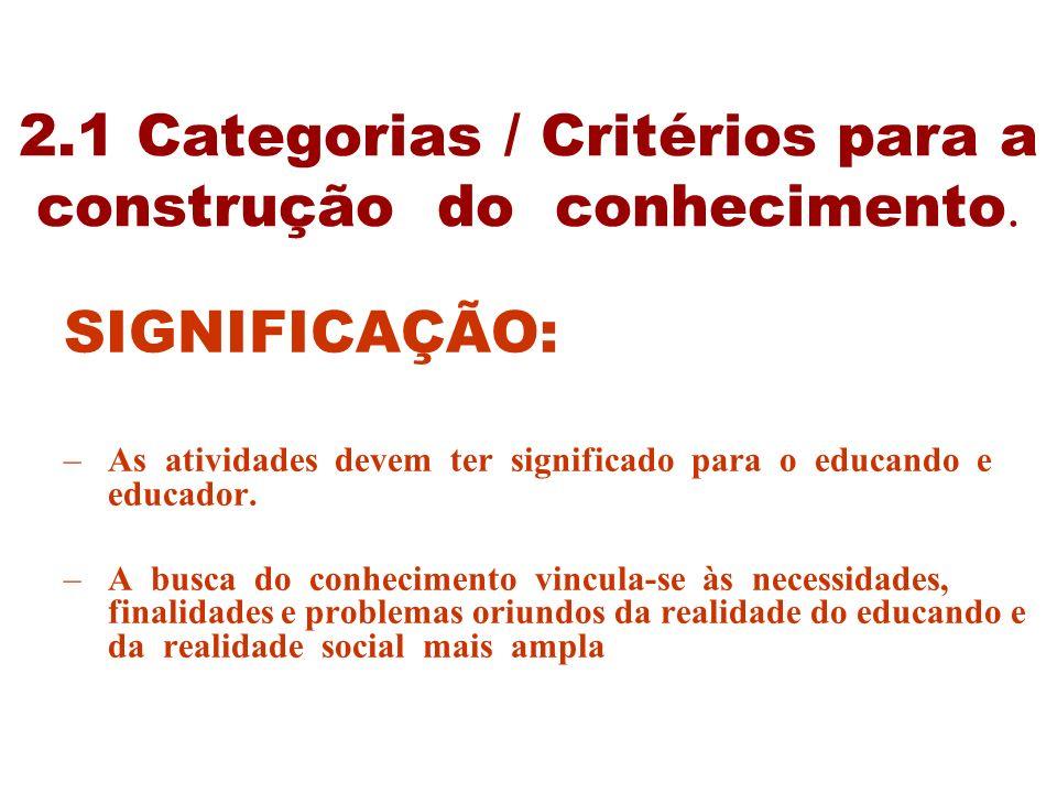 2.1 Categorias / Critérios para a construção do conhecimento.