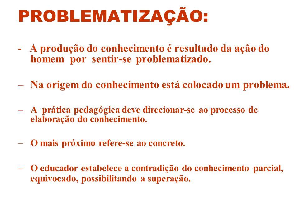 PROBLEMATIZAÇÃO: - A produção do conhecimento é resultado da ação do homem por sentir-se problematizado.