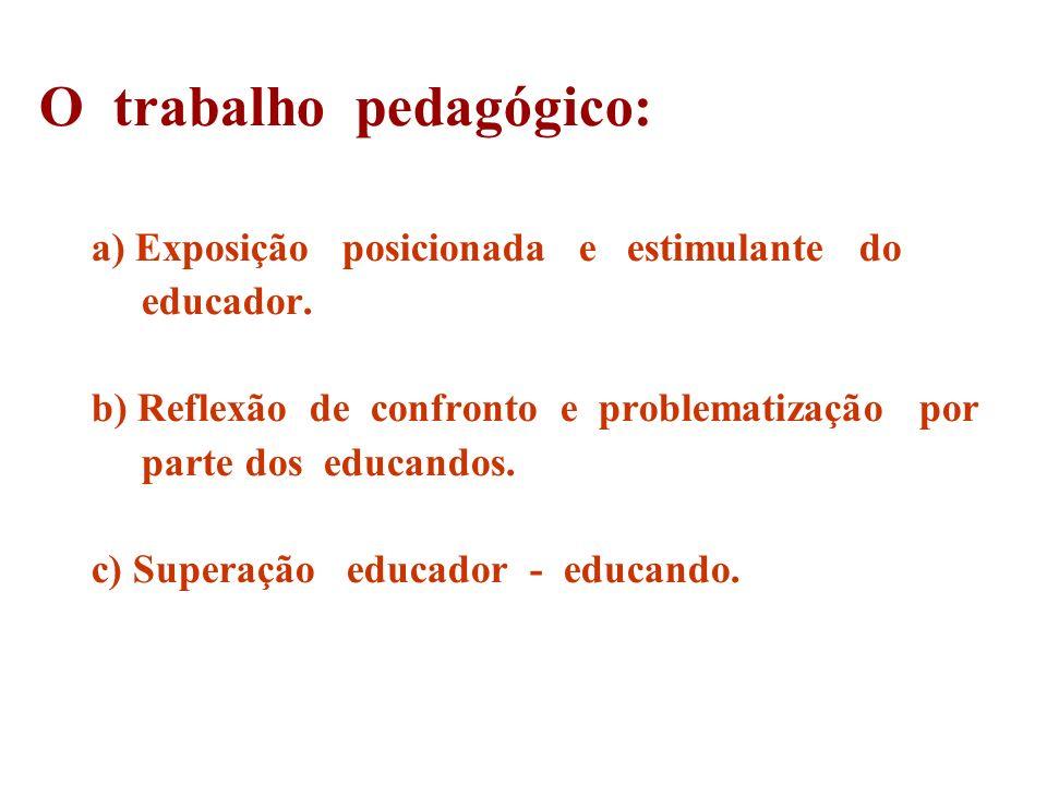 O trabalho pedagógico: