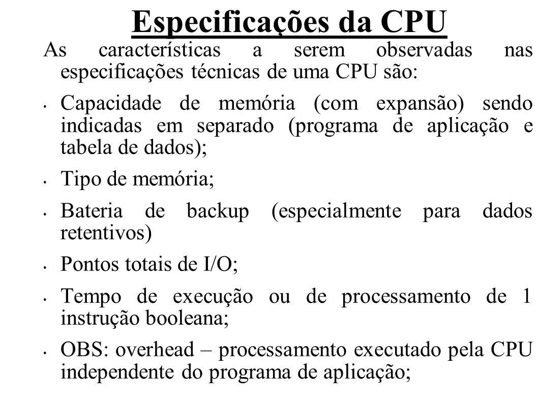 Especificações da CPU As características a serem observadas nas especificações técnicas de uma CPU são: