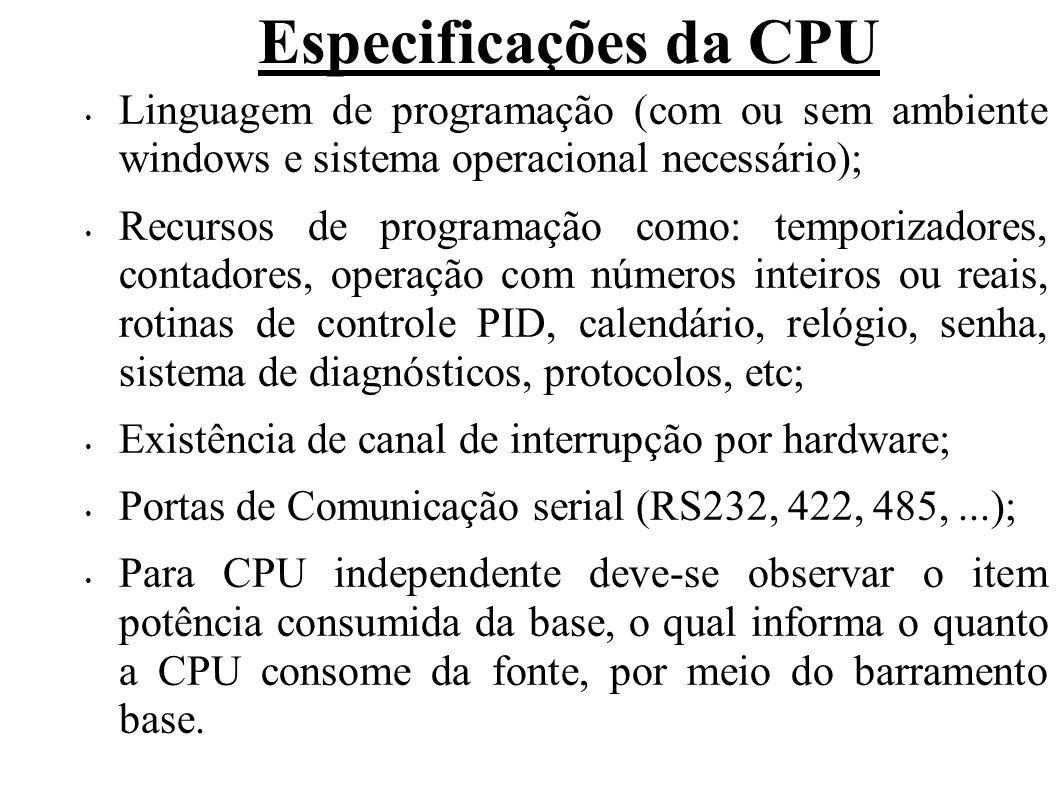 Especificações da CPU Linguagem de programação (com ou sem ambiente windows e sistema operacional necessário);