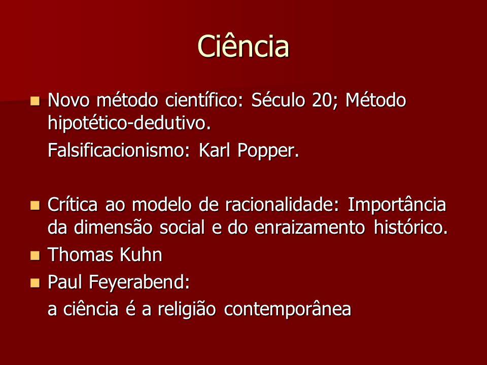 Ciência Novo método científico: Século 20; Método hipotético-dedutivo.