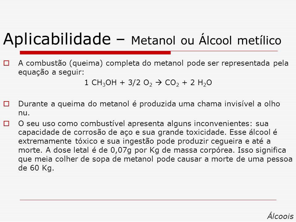 Aplicabilidade – Metanol ou Álcool metílico