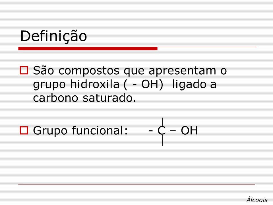 Definição São compostos que apresentam o grupo hidroxila ( - OH) ligado a carbono saturado. Grupo funcional: - C – OH.