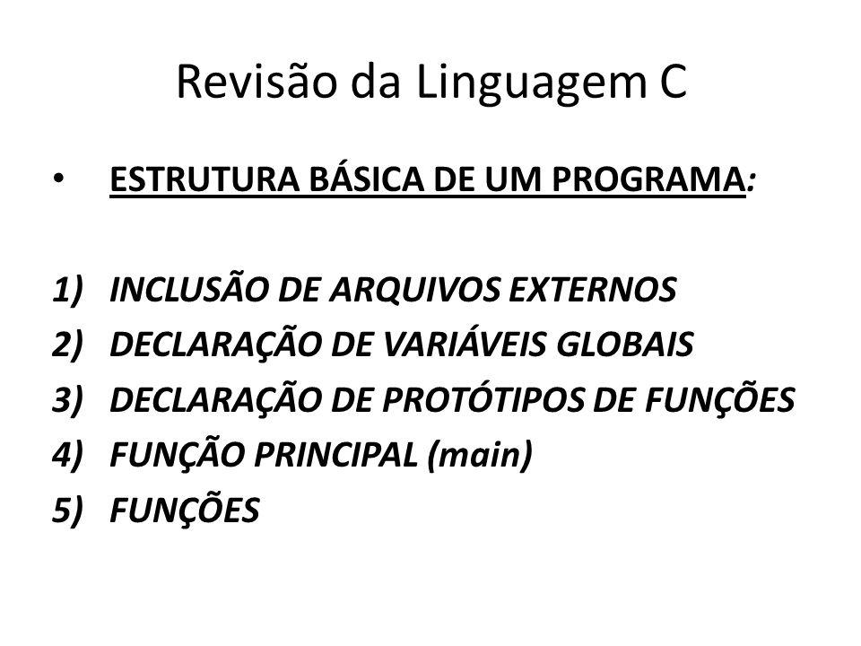Revisão da Linguagem C ESTRUTURA BÁSICA DE UM PROGRAMA:
