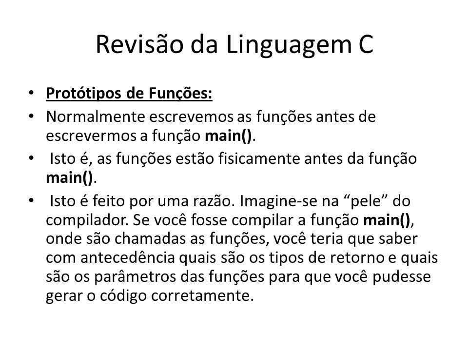 Revisão da Linguagem C Protótipos de Funções: