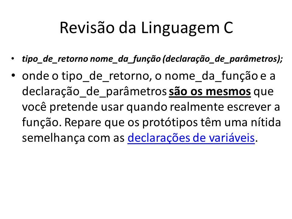 Revisão da Linguagem C tipo_de_retorno nome_da_função (declaração_de_parâmetros);