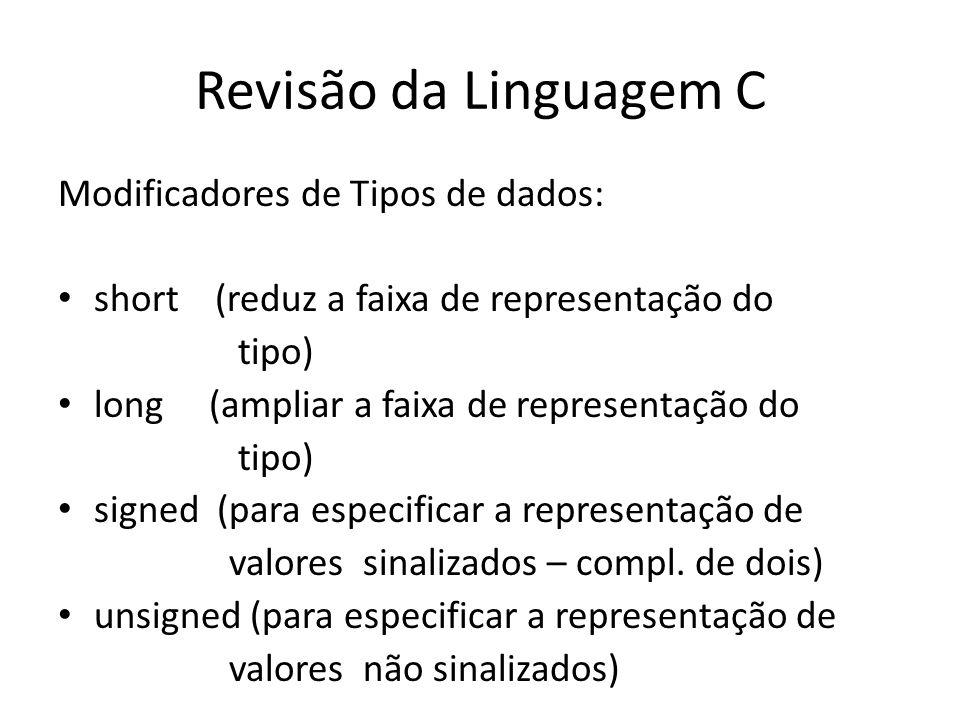 Revisão da Linguagem C Modificadores de Tipos de dados: