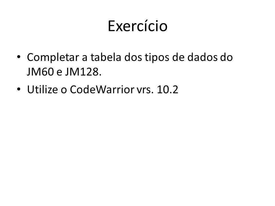 Exercício Completar a tabela dos tipos de dados do JM60 e JM128.