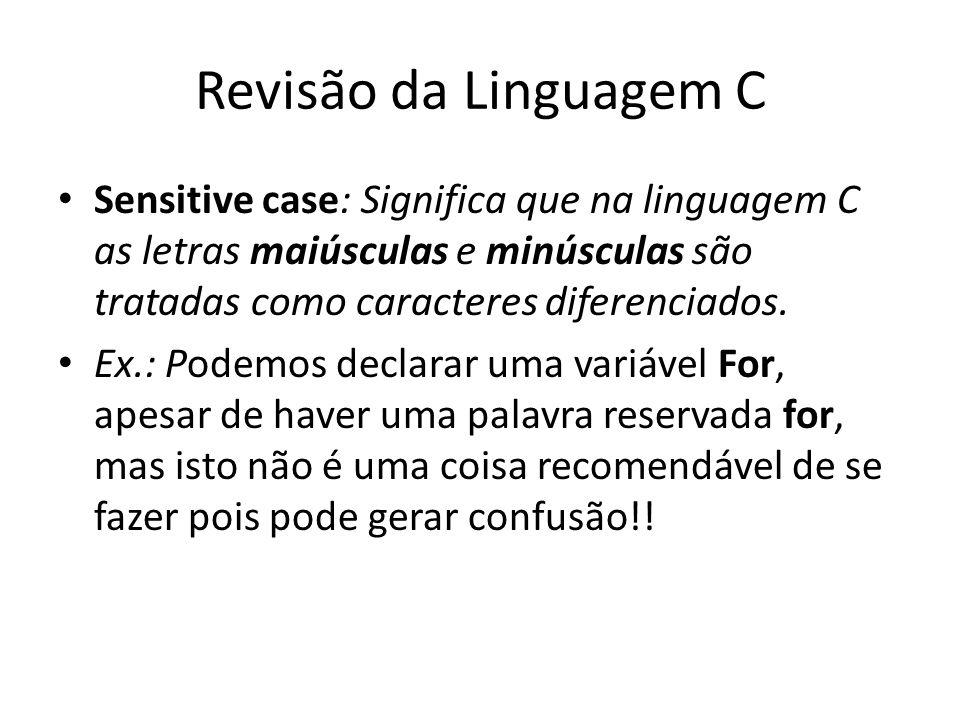 Revisão da Linguagem CSensitive case: Significa que na linguagem C as letras maiúsculas e minúsculas são tratadas como caracteres diferenciados.