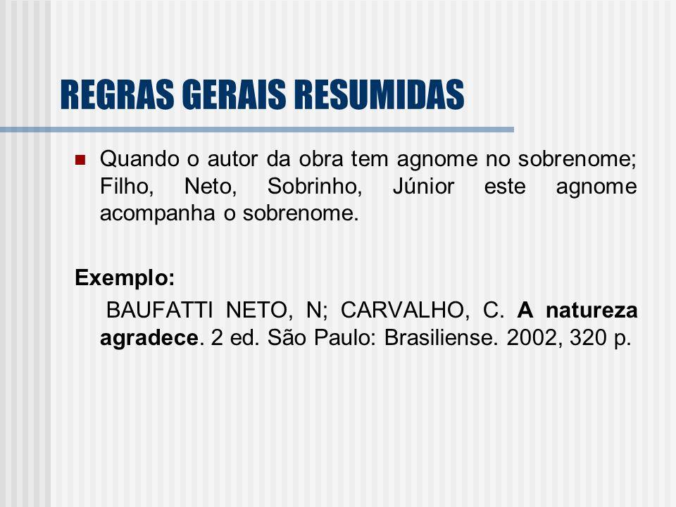 REGRAS GERAIS RESUMIDAS