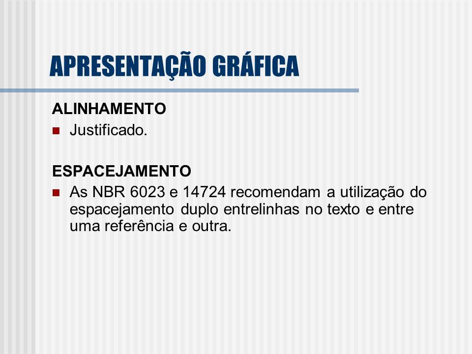 APRESENTAÇÃO GRÁFICA ALINHAMENTO Justificado. ESPACEJAMENTO